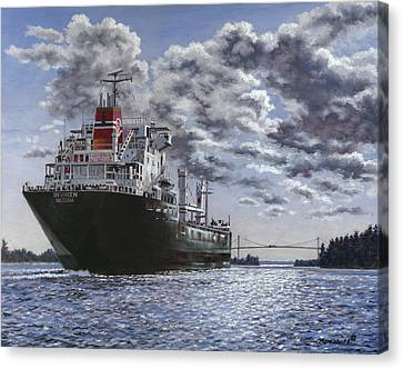 Freighter Inviken Canvas Print by Richard De Wolfe