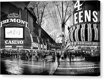 Fremont Street Casinos Bw Canvas Print