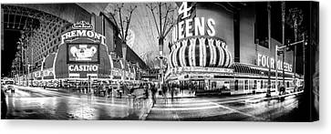 Fremont Street Experience Bw Canvas Print