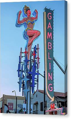 Fremont Street Lucky Lady And Gambling Neon Signs Canvas Print by Aloha Art