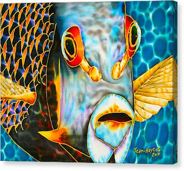 Tropical Fish Canvas Print - French Angelfish Face by Daniel Jean-Baptiste