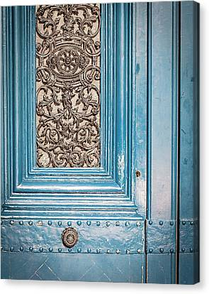 Canvas Print featuring the photograph French Blue - Paris Door by Melanie Alexandra Price
