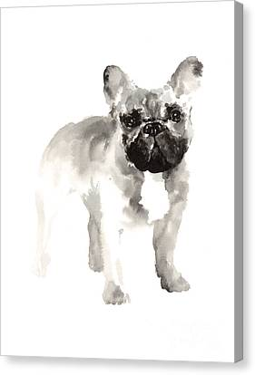 French Bulldog Drawing For Nursery Room Canvas Print by Joanna Szmerdt