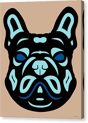 French Bulldog Francis - Dog Design - Hazelnut, Island Paradise, Lapis Blue Canvas Print