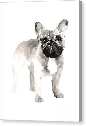 French Bulldog Minimalist Watercolor Painting Canvas Print by Joanna Szmerdt