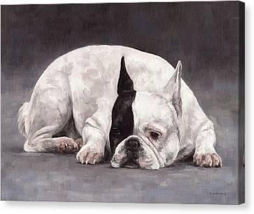 French Bulldog Painting Canvas Print by Rachel Stribbling
