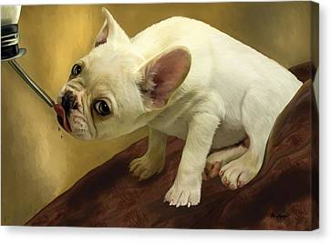 Canvas Print featuring the digital art French Bulldog  by Thanh Thuy Nguyen