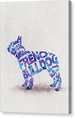 French Bulldog Watercolor Painting / Typographic Art Canvas Print