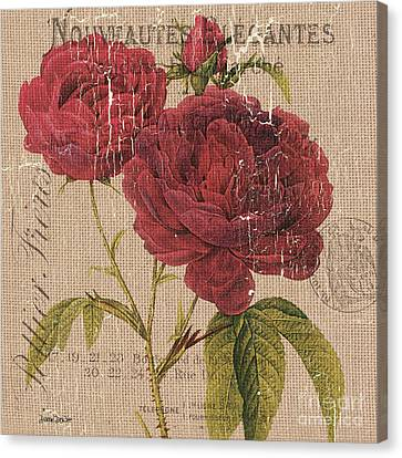 French Burlap Floral 3 Canvas Print by Debbie DeWitt
