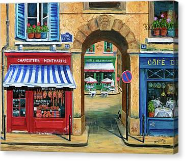 Awning Canvas Print - French Butcher Shop by Marilyn Dunlap