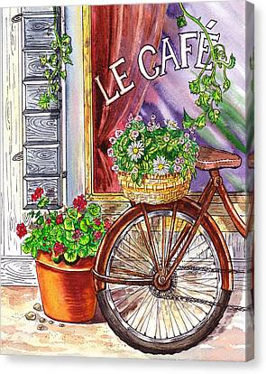 Bicycle With Flowers Canvas Print - French Cafe by Irina Sztukowski