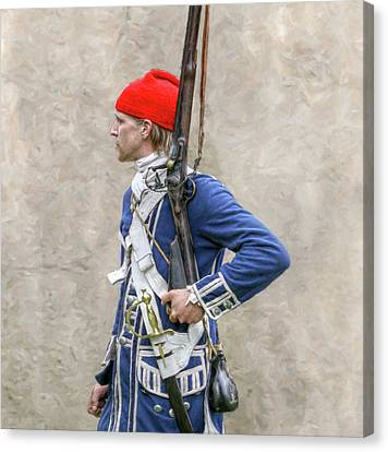French Colonial Soldier French And Indian War  Canvas Print by Randy Steele