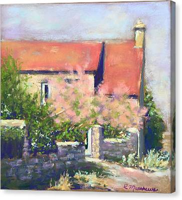 Canvas Print featuring the pastel French Cottage by Rebecca Matthews
