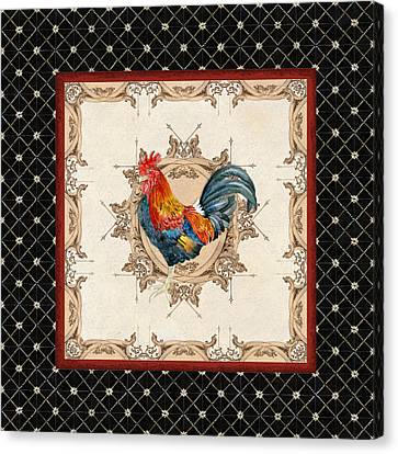 French Country Roosters Quartet Black 2 Canvas Print by Audrey Jeanne Roberts