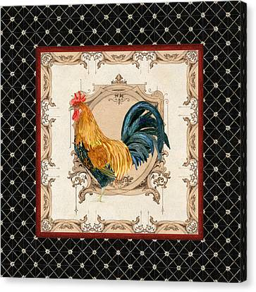 French Country Roosters Quartet 4 Canvas Print by Audrey Jeanne Roberts