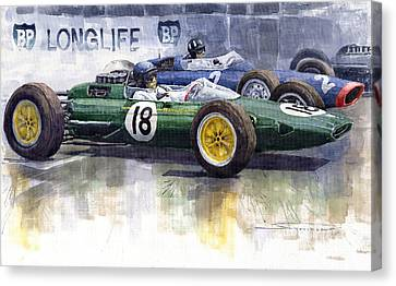 French Gp 1963 Start Lotus Vs Brm Canvas Print by Yuriy  Shevchuk