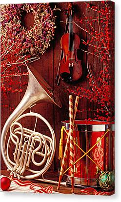 French Horn Christmas Still Life Canvas Print by Garry Gay