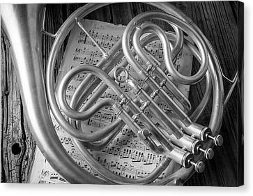 French Horn In Black And White Canvas Print