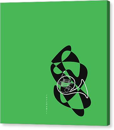 French Horn In Green Canvas Print