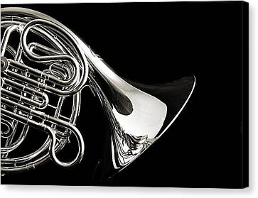 French Horn Isolated On Back Canvas Print by M K  Miller