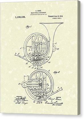French Horn Musical Instrument 1914 Patent Canvas Print by Prior Art Design
