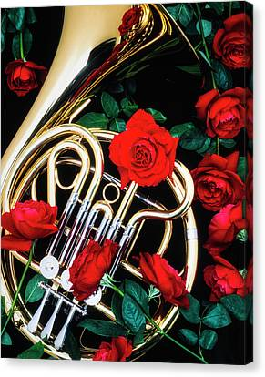 Brass Leafs Canvas Print - French Horn With Red Roses by Garry Gay