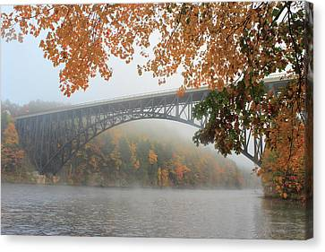 French King Bridge Autumn Fog Canvas Print by John Burk