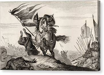 Armor Canvas Print - French Knight In Battle by French School