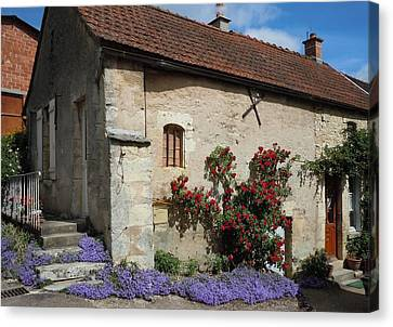 French Medieval House With Flowers Canvas Print by Marilyn Dunlap