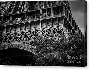 Rememberance Canvas Print - French Names Written On Eiffel Tower, Paris, Blk Wt by Liesl Walsh