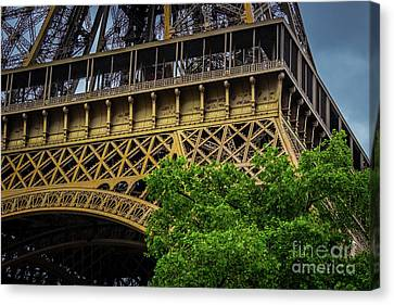 Rememberance Canvas Print - French Names Written On Eiffel Tower, Paris, France by Liesl Walsh