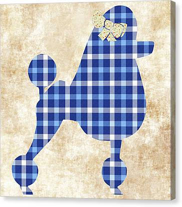 Canvas Print featuring the mixed media French Poodle Plaid by Christina Rollo