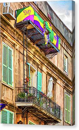 French Quarter Architecture - Mardi Gras - Paint Canvas Print by Steve Harrington
