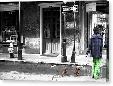 French Quarter Dog Walking Fusion Canvas Print by John Rizzuto