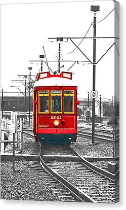 French Quarter French Market Cable Car New Orleans Color Splash Black And White With Film Grain Canvas Print by Shawn O'Brien