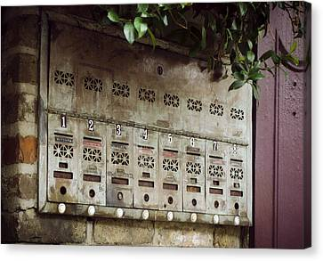 French Quarter Mail Boxes Canvas Print by Greg Mimbs