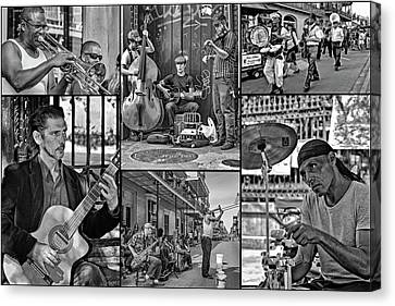 French Quarter Musicians Collage Bw Canvas Print