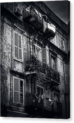 Chrystal Canvas Print - French Quarter Shutters And Balconies In Black And White by Chrystal Mimbs