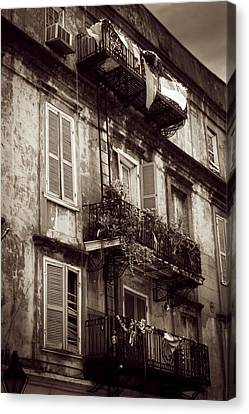 French Quarter Shutters And Balconies In Sepia Canvas Print