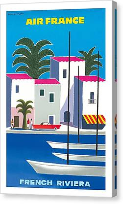 South Of France Canvas Print - French Riviera Vintage Airline Travel Poster By Guy Georget by Retro Graphics