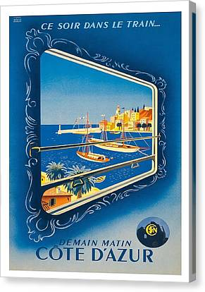 French Riviera Vintage Railroad Travel Poster By Roland Hugen Canvas Print