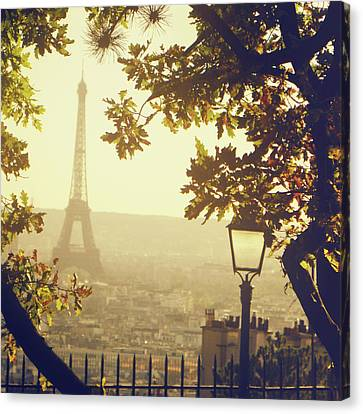 Street Lights Canvas Print - French Romance by by Smaranda Madalina Cheregi