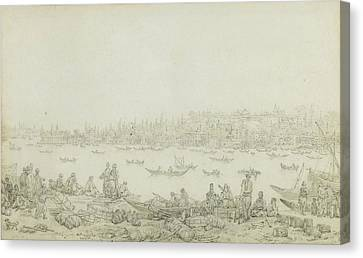 French Seraglio Point Seen From Galata Canvas Print by Jean Baptiste