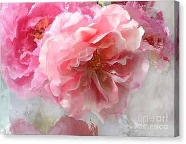 French Shabby Chic Romantic Impressionistic Pink Roses - Painted Pink French Roses Belle Fleur  Canvas Print by Kathy Fornal