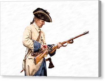 French Soldier Reloading Musket Canvas Print by Randy Steele