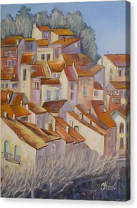 Canvas Print featuring the painting French Villlage Painting by Chris Hobel