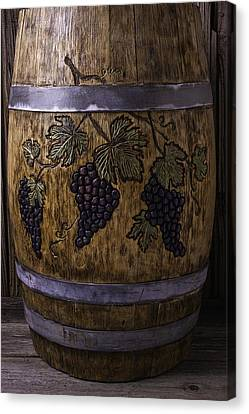 French Wine Barrel With Grapes Canvas Print by Garry Gay
