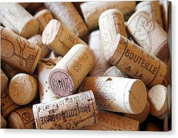 Wine Bottle Canvas Print - French Wine Corks by Georgia Fowler