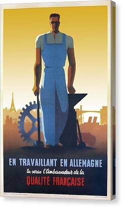 French Workers In Germany 1943 Canvas Print by Daniel Hagerman