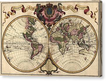 French World Map Shows Nautical Canvas Print
